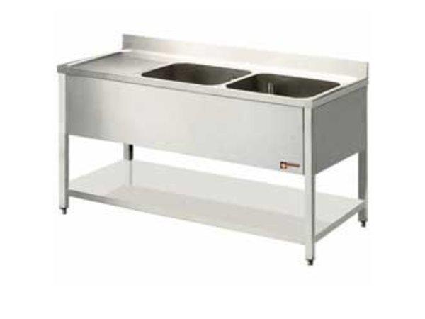 Diamond Sink INOX - 2 Eimer 600x500x325 (H) mm - 2000x700x880-900 (h) - Ablassen Verbindungen