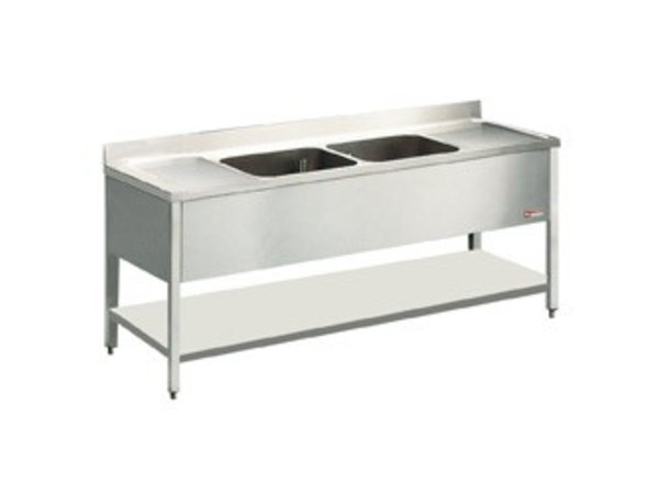 Diamond Sink Edelstahl - 2 Waschbecken 600x500x325 (H) mm | 2400x700x880-900 (h) | Abtropffläche links / rechts
