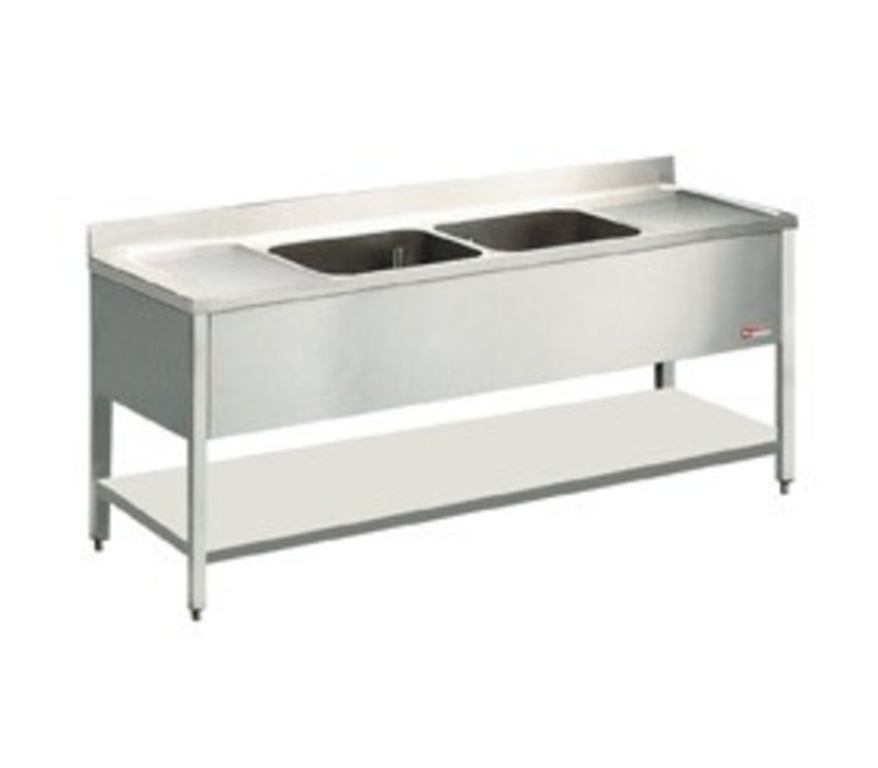 Diamond Sink Stainless Steel - 2 sinks 600x500x325 (h) mm | 2400x700x880-900 (h) | Drainer Left / Right