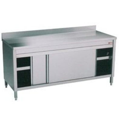 Diamond Stainless Steel Cupboard with 2 Doors + Splash-Rand | 1000x600x (H) 900mm