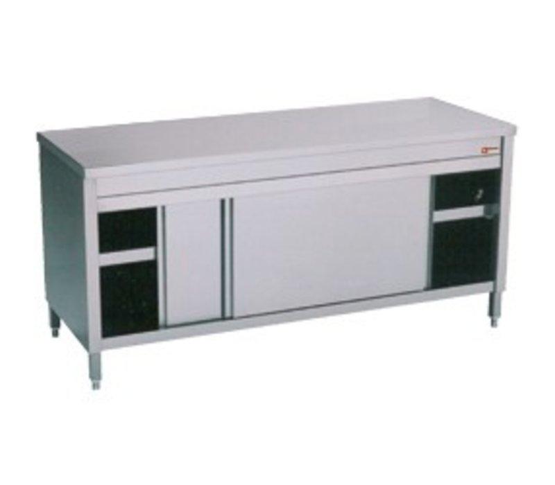 Diamond Edelstahl-Schrank mit 2 Türen | 1400x600x (H) 900mm