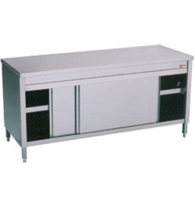 Diamond RVS Werkkast met 2 Schuifdeuren | 1600x600x(h)900mm