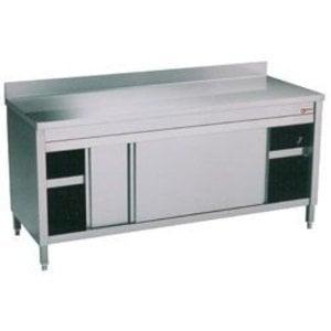 Diamond RVS Werkkast met 2 Schuifdeuren + Spatrand   1600x600x(h)900mm