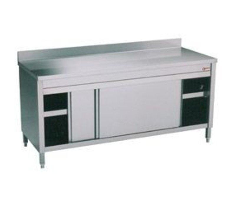 Diamond RVS Werkkast met 2 Schuifdeuren + Spatrand | 1600x600x(h)900mm