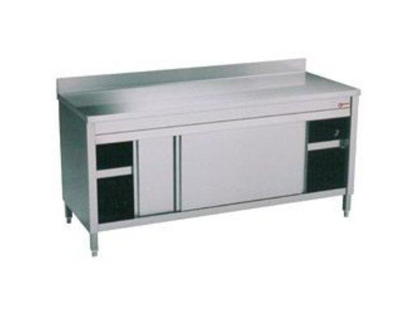 Diamond RVS Werkkast met 2 Schuifdeuren + Spatrand | 1600x700x(h)900mm