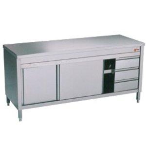 Diamond RVS Werkkast met 2 Schuifdeuren | 3 Lades | 1600x700x(h)900mm