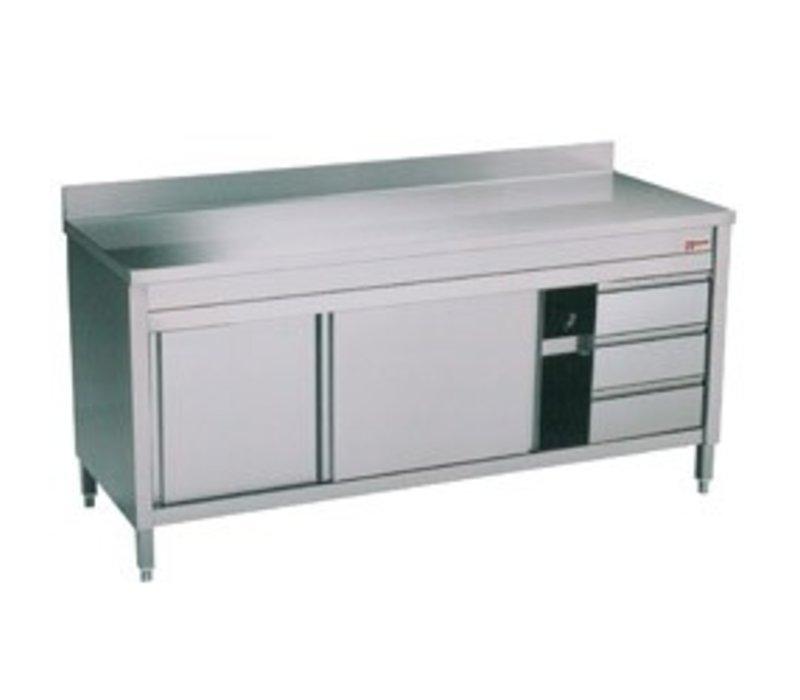 Diamond RVS Werkkast met 2 Schuifdeuren + Spatrand | 3 Lades | 1600x700x(h)900mm