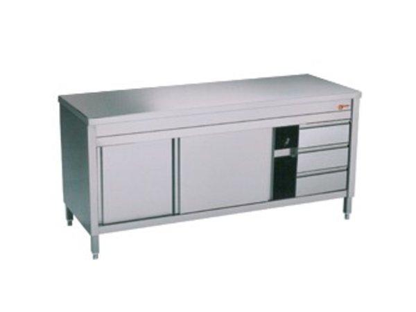 Diamond Edelstahl-Schrank mit 2 Türen | 3 Schubladen | 2000x700x (H) 900mm
