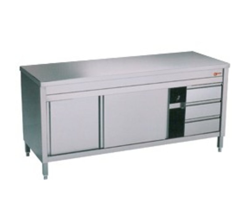 Diamond Stainless Steel Cupboard with 2 Doors | 3 Drawers | 2000x700x (H) 900mm