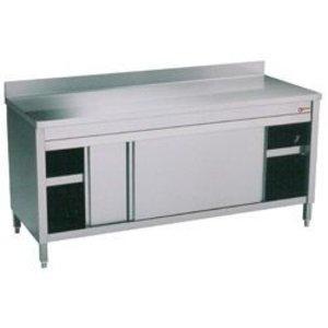 Diamond RVS Werkkast met 2 Schuifdeuren + Spatrand  2400x700x(h)900mm