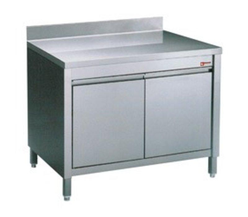 Diamond RVS Werkkast met 2 Klapdeuren + Spatrand   600x700x(h)900mm