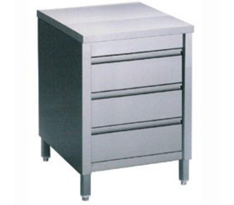 Diamond RVS Werkkast met 3 Laden | 600x700x(h)900mm