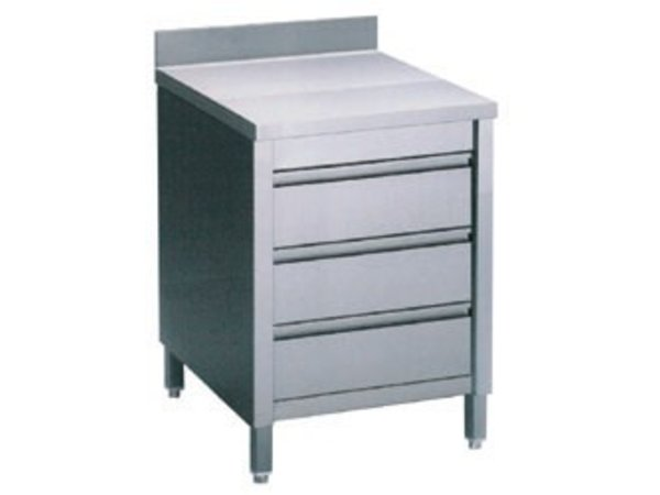Diamond Stainless Steel Cupboard with 3 Drawers + Splash-Rand | 600x700x (H) 900mm