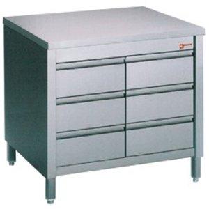 Diamond RVS Werkkast met 6 Laden 1/1 GN   800x700x(h)900mm