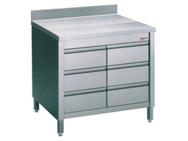 Diamond Stainless Steel Cupboard + Splash Edge Load with 6 1 / 1GN | 800x700x (H) 900mm