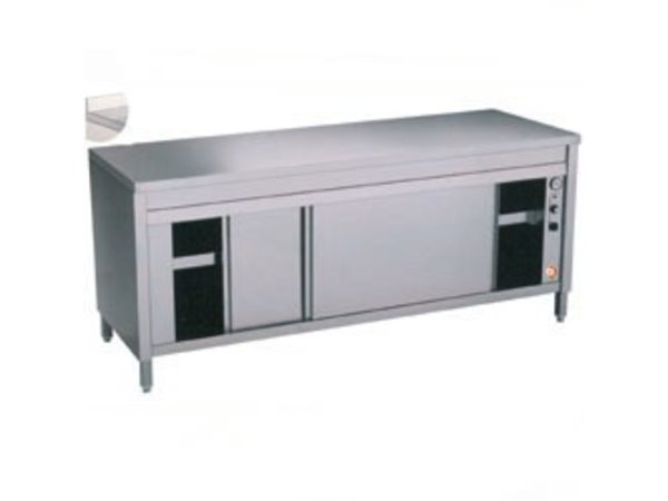 Diamond RVS Werkkast met 2 Schuifdeuren + Spatrand | Verwarmd |  1200x700x(h)900mm