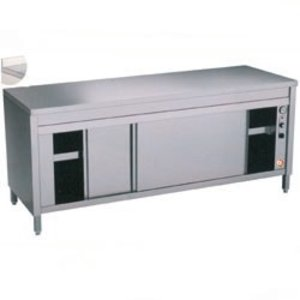 Diamond RVS Werkkast met 2 Schuifdeuren + Spatrand | Verwarmd |1400x600x(h)900