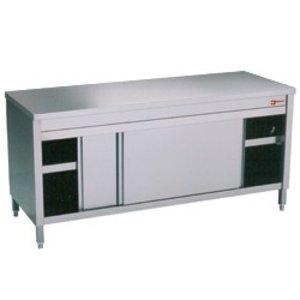 Diamond Edelstahl-Schrank mit 2 Türen   erhitzt   1600x700x (H) 900mm