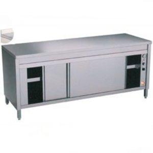 Diamond RVS Werkkast met 2 Schuifdeuren + Spatrand | Verwarmd |1600x700x(h)900mm