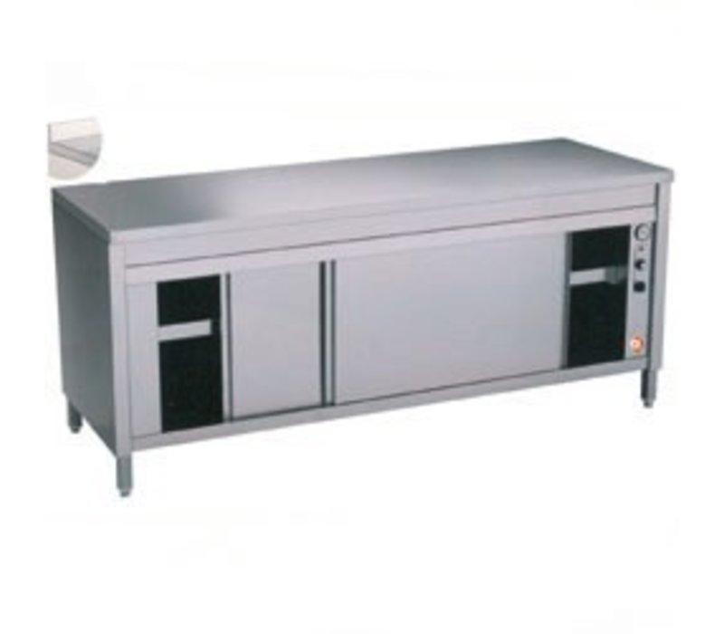 Diamond RVS Werkkast met 2 Schuifdeuren + Spatrand   Verwarmd  1600x700x(h)900mm