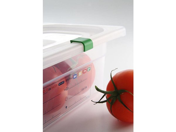 Hendi Stock Box PP plastic GN 1/6 200 mm + lid and 4 clips
