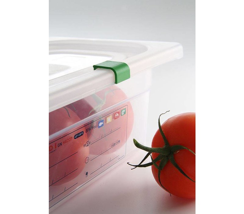 Hendi Stock Box PP plastic GN 1/1 200 mm + lid and 4 clips