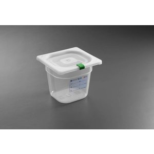 Hendi Stock Box PP plastic GN 1/6 150 mm + lid and 4 clips