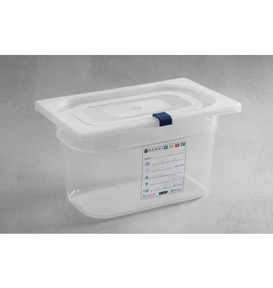 Hendi Stock Box PP plastic GN 1/4 65 mm + lid and 4 clips