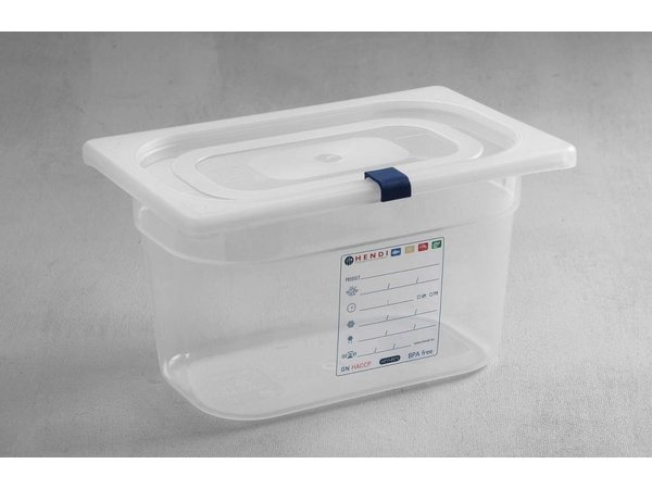 Hendi Stock Box PP plastic GN 1/4 150 mm + lid and 4 clips