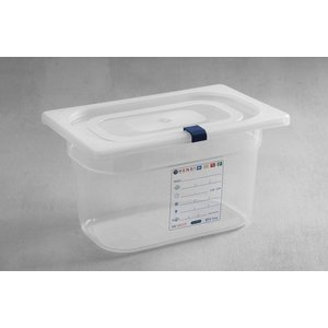 Hendi Stock Box PP plastic GN 1/4 200 mm + lid and 4 clips