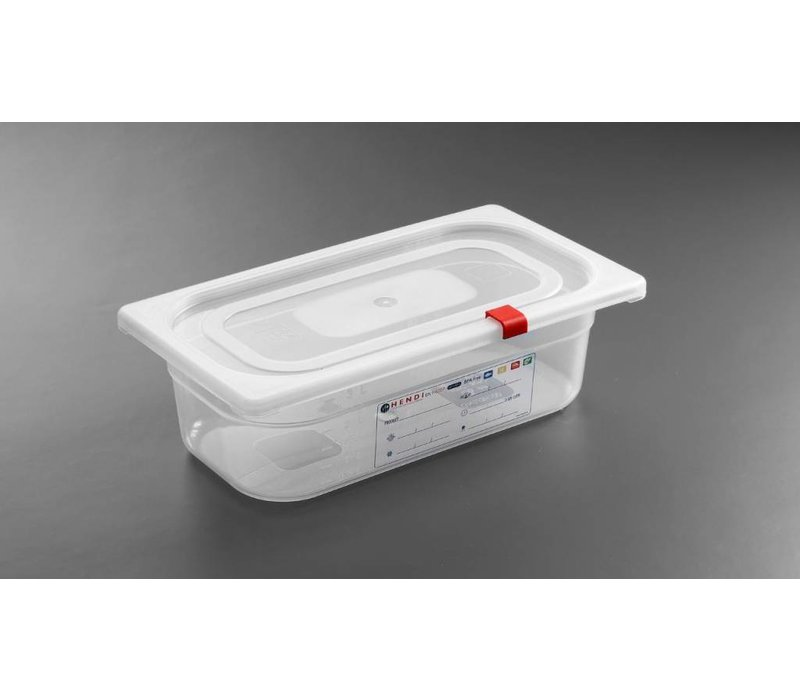 Hendi Stock Box PP plastic GN 1/3 65 mm + lid and 4 clips