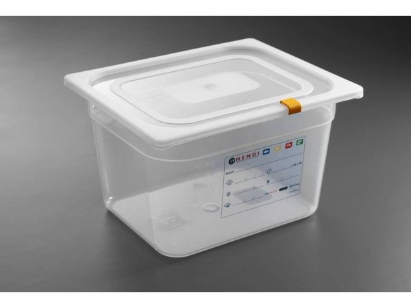 Hendi Stock Box PP plastic GN 1/2 150 mm + lid and 4 clips