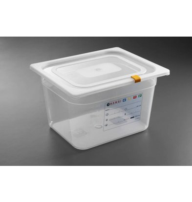 Hendi Stock Box PP plastic GN 1/2 200 mm + lid and 4 clips