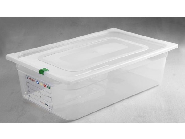 Hendi Stock Box PP plastic GN 1/1 100 mm + lid and 4 clips