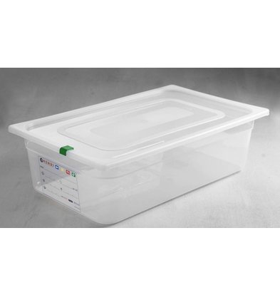 Hendi Stock Box PP plastic GN 1/1 150 mm + lid and 4 clips