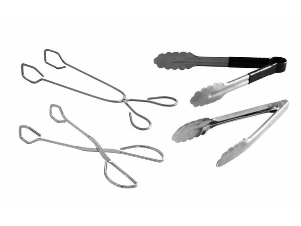 Hendi Salad Tongs Stainless steel | with occlusion clip | (L) 250mm