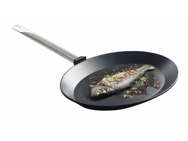 Hendi Vispan oval cast aluminum | 400x275x35 mm with stainless steel handle