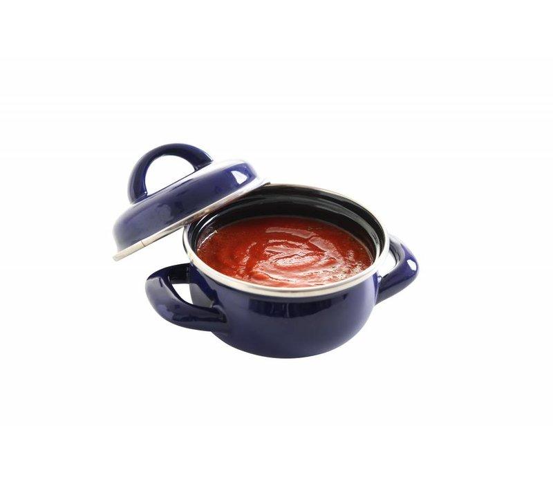 Hendi Suppe Topf schwarz Ø135x (H) 60 mm | Die emaillierten 0,6 Liter
