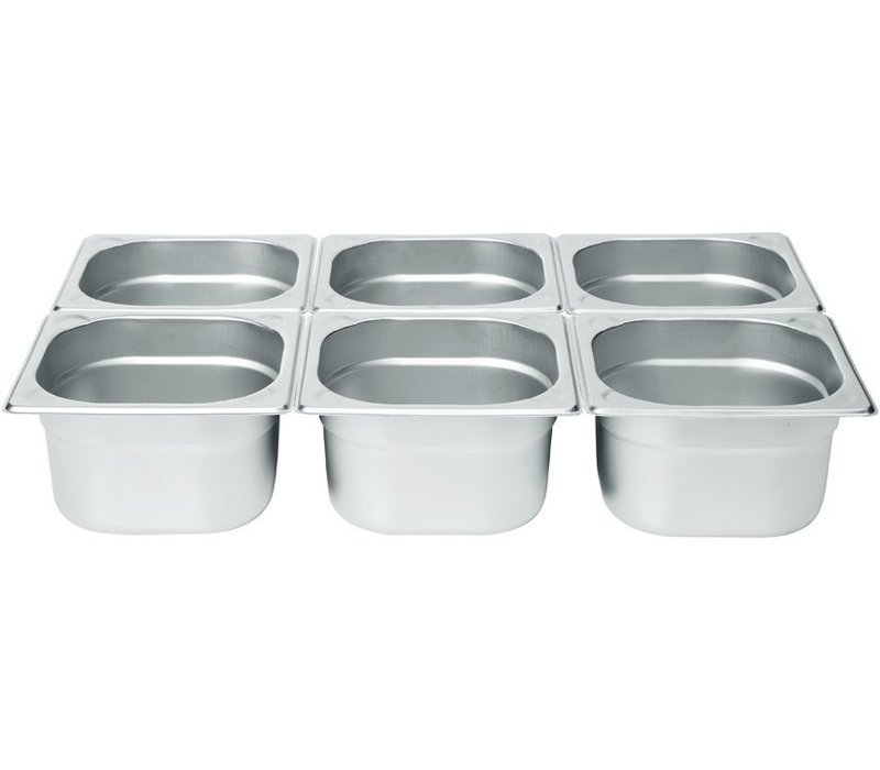 Hendi Gastronormbak RVS 1/6 - 100 mm | 176x162mm