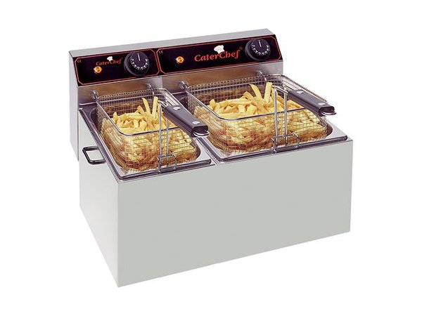 Caterchef Fritteuse | 5 + 8 Liter | 1x2kW + 1x3,25kW | 470x430x (H) 290mm