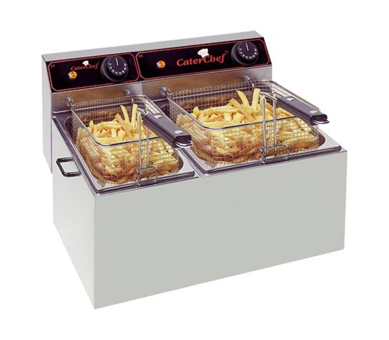 Caterchef Friteuse | 5+8 Liter | 1x2kW+1x3,25kW | 470x430x(H)290mm