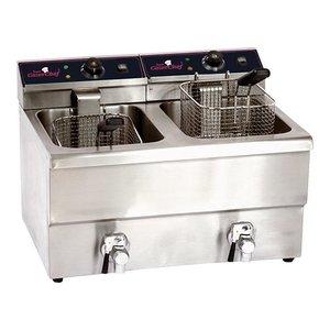 Caterchef Electric Fryer | 8 + 8 Litre | With drain valve | 2x3,3 kW | 290x500x (H) 420mm