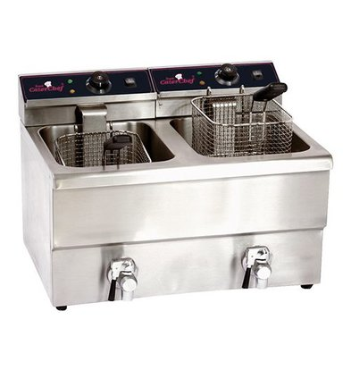 Caterchef Electric Fryer   8 + 8 liters With Drain Valve   2x3.3 kW   290x500x (H) 420mm