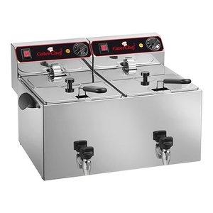 Caterchef Elektrische Friteuse | 9+9 Liter | Met Aftapkraan | 2x3,25kW | 280x530x(H)350mm