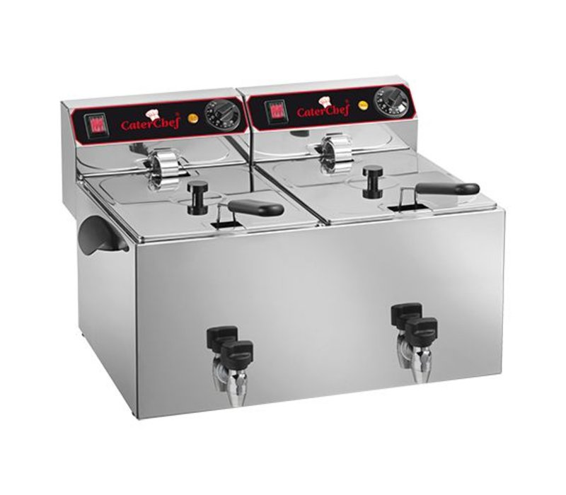 Caterchef Fritteuse | 9 + 9 Liter | Mit Ablassventil | 2x3,25kW | 280x530x (H) 350mm