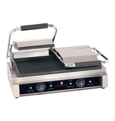 Caterchef Horeca Contact Grill | Double Compact Ribbed | 570x400x (H) 210mm | 3600W