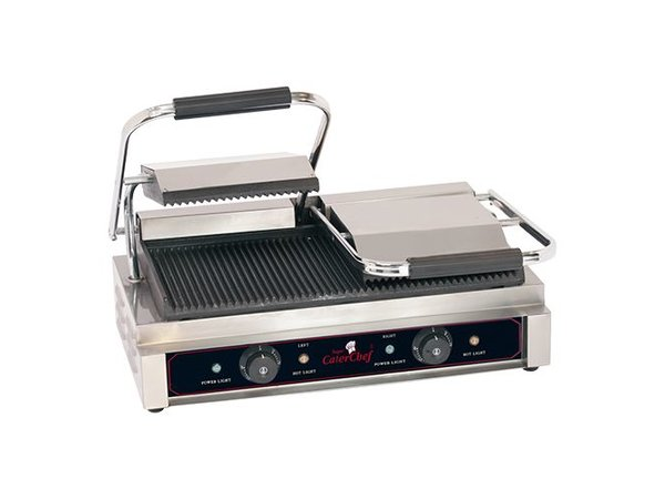 Caterchef Horeca Contact Grill   Double Compact Ribbed   570x400x (H) 210mm   3600W