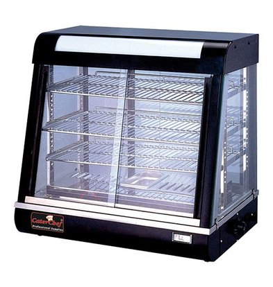 Caterchef Warming Vitrine Black SS - 4 Roosters - Both Side Sliding window - LED Lighting - 690x440x (h) 660mm