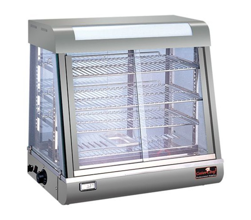 Caterchef Warming Showcase SS - 4 Roosters - beide Seitenschiebefenster - LED-Beleuchtung - 690x440x (h) 660mm
