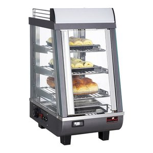 Caterchef Warming Vitrine RVS - 3 Roosters - 1 Schwingtür - LED-Beleuchtung - 350x490x (h) 660